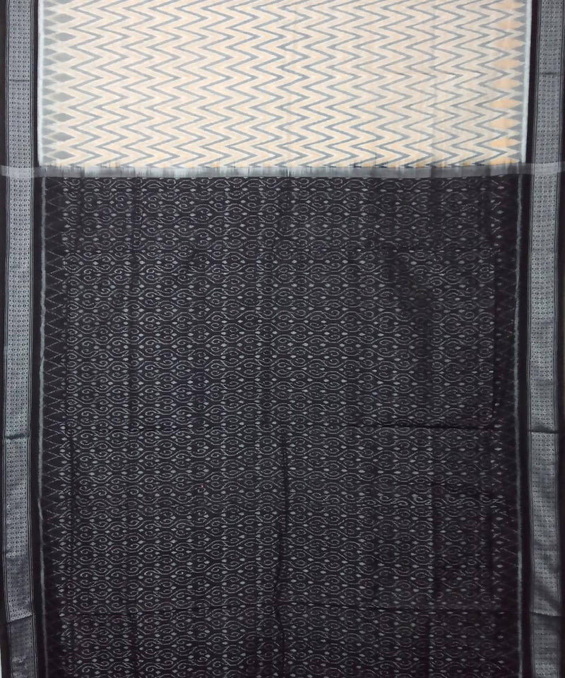 Grey Black Patli Sambalpuri Handloom Cotton Ikat Saree