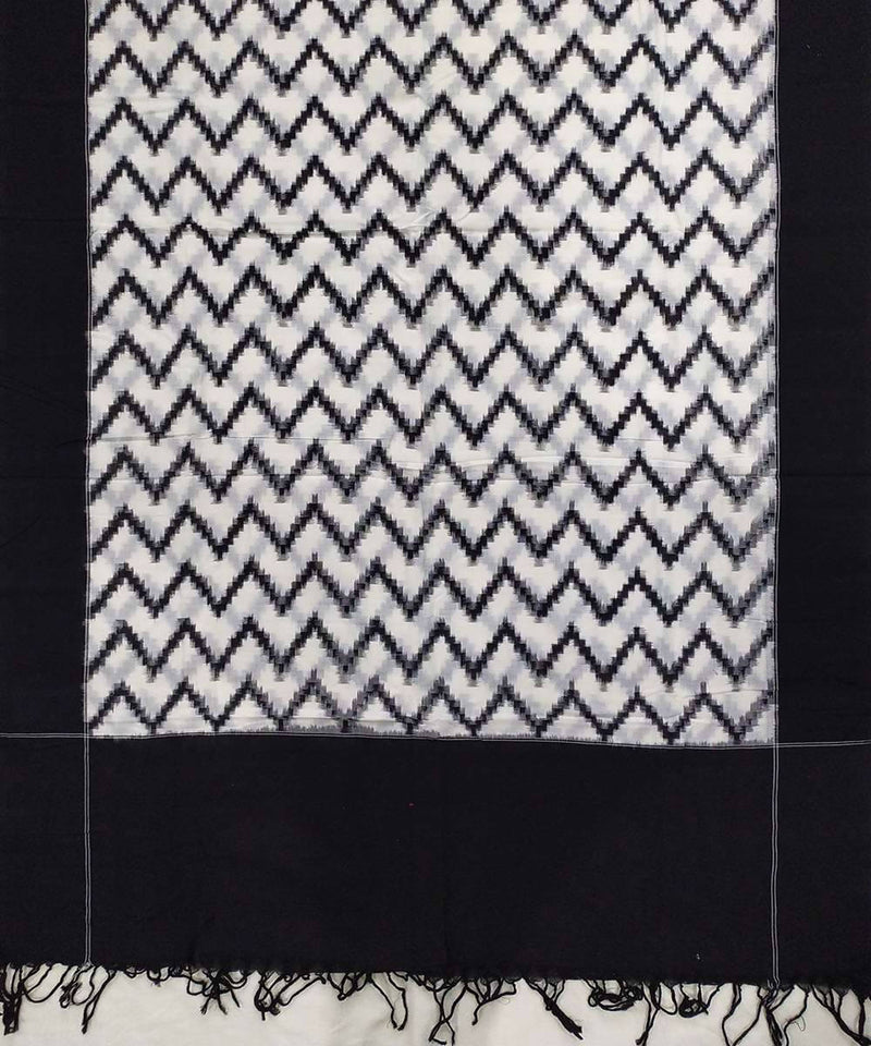 Black and white zig zag Cotton Handwoven Dupatta