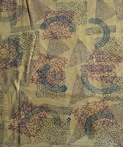 Yellow natural dye ajrakh print handspun handwoven cotton fabric