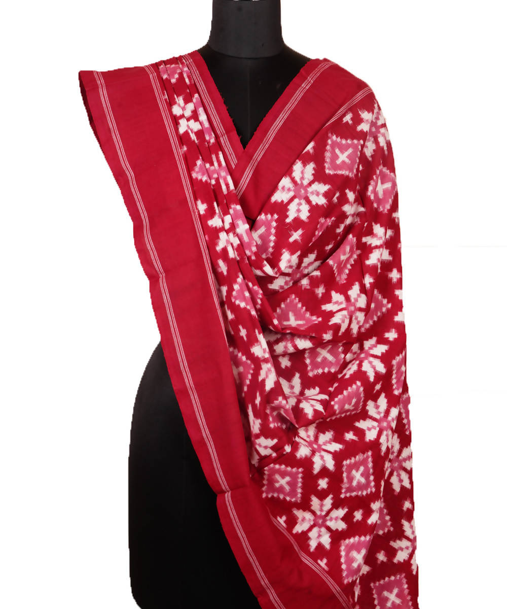 Red Handloom Telia Rumal Cotton Dupatta
