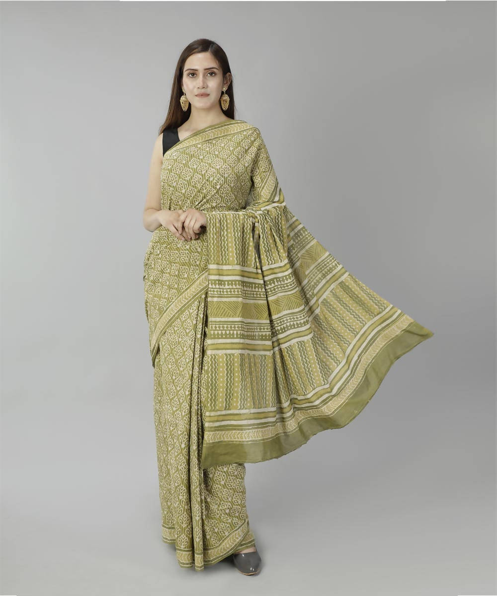 Acid green bagru handblock printed cotton saree