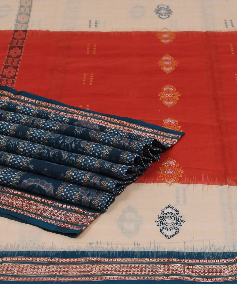 Coquelicot Handloom Bomkai Cotton Saree