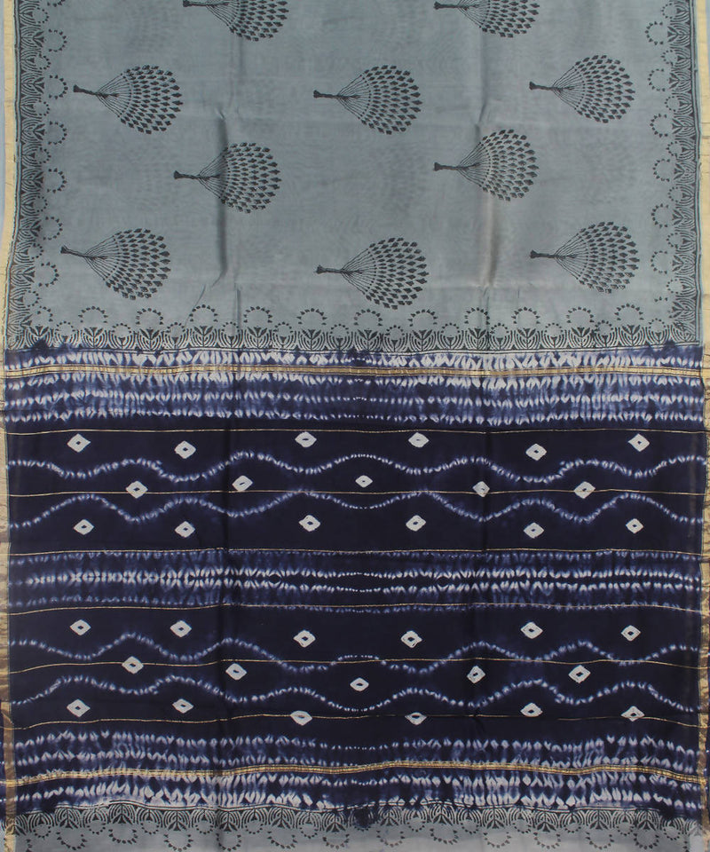 Grey Blue Shibori Printed Chanderi Saree