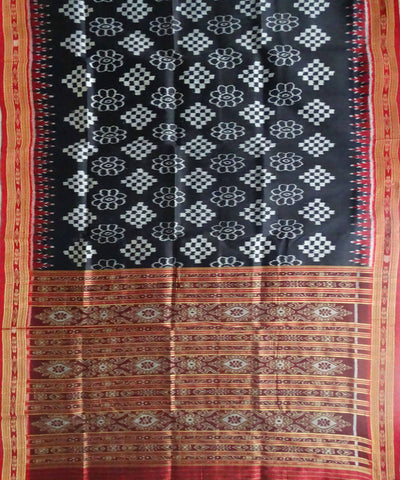 Black Handwoven Khandua Ikat Silk Saree