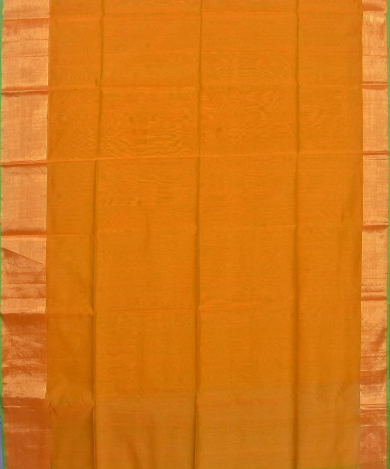 Handloom Golden Yellow Maheshwari Sico Saree