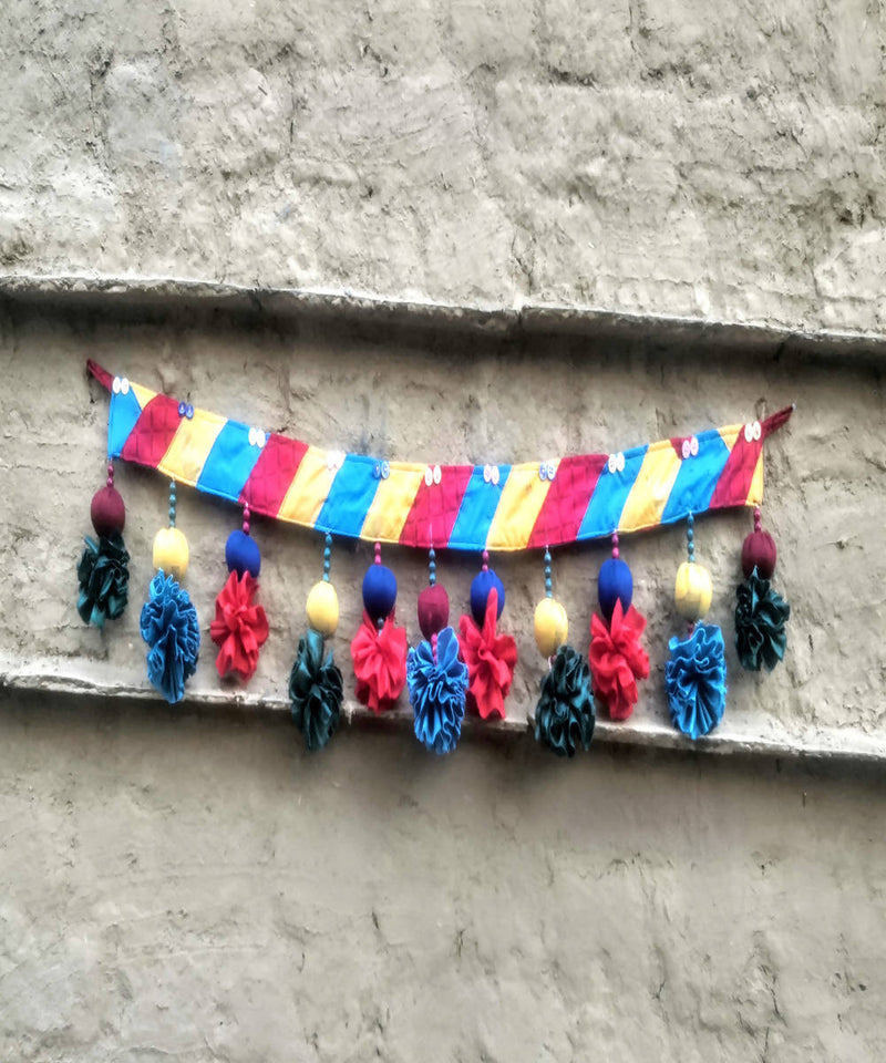 Yellow blue red silk cotton handmade patch toran
