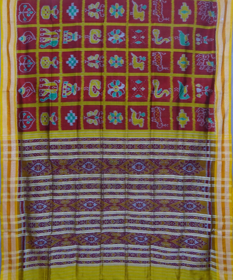 Khandua handwoven maroon yellow silk saree