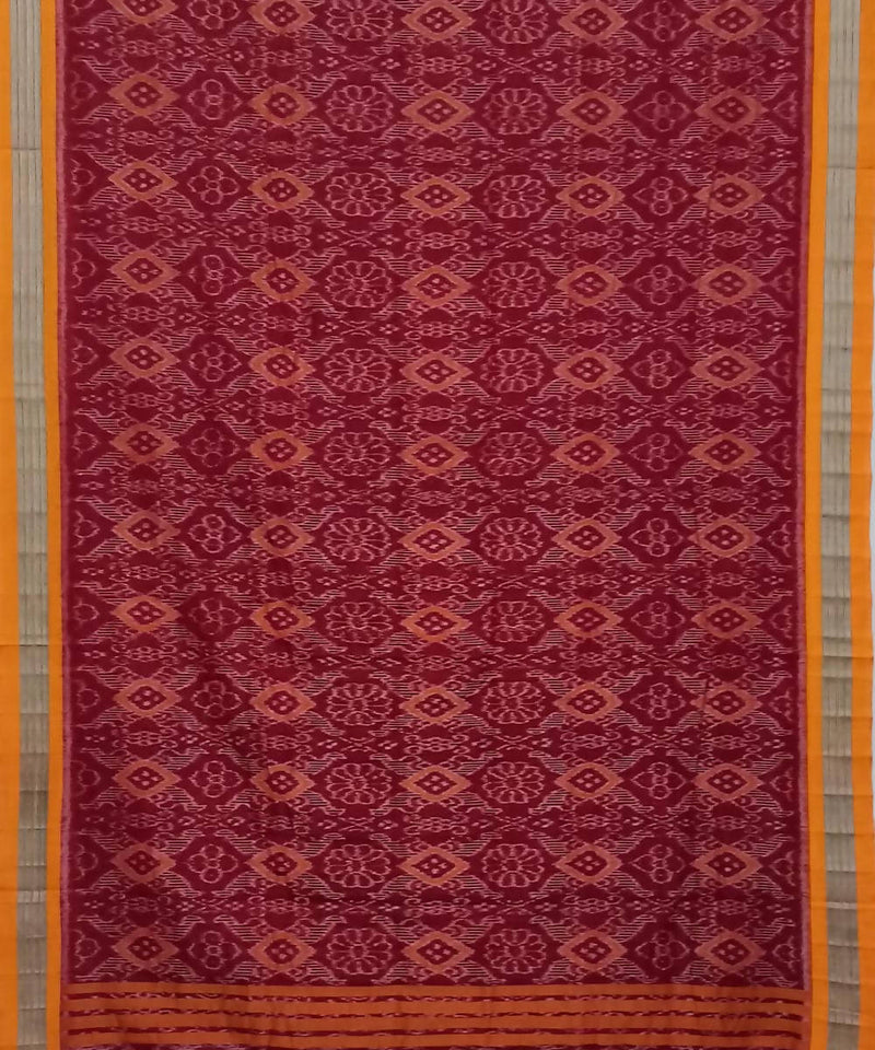 Red and Mustard Nuapatana Handwoven Cotton Saree
