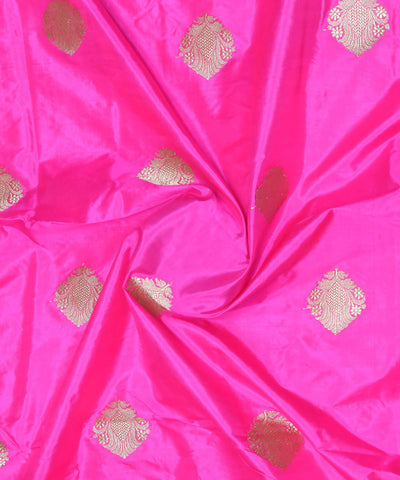 Banarasi Bright Pink Handloom Silk Fabric