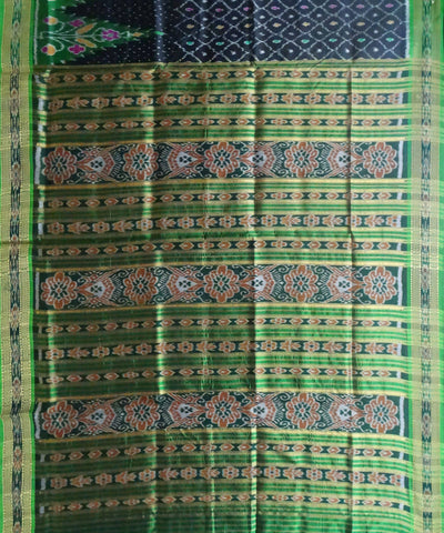 Khandua Black Handwoven Ikat Silk Saree