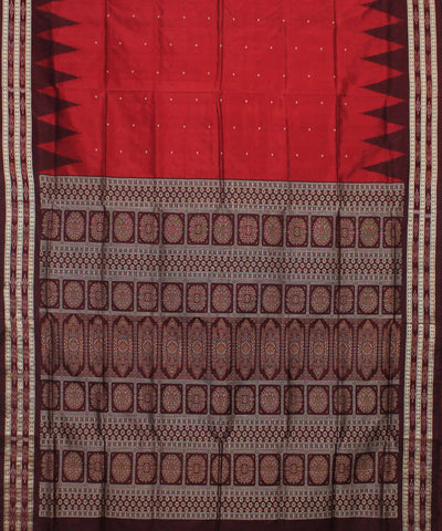 Red Burgundy Handloom Bomkai Silk Saree
