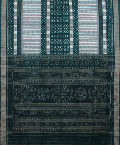 Off White Green Sambalpuri Ikat Cotton Saree