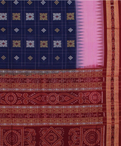 Blue Maroon Handwoven Bomkai Cotton Saree