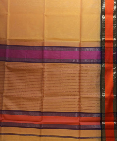 Maheshwari Light Orange Handloom Cotton Silk Saree