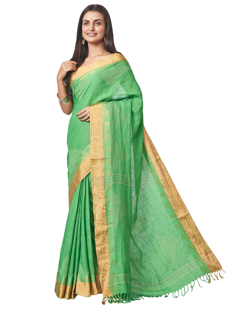 Biswa bangla handloom green linen nettle jacquard saree with zari work