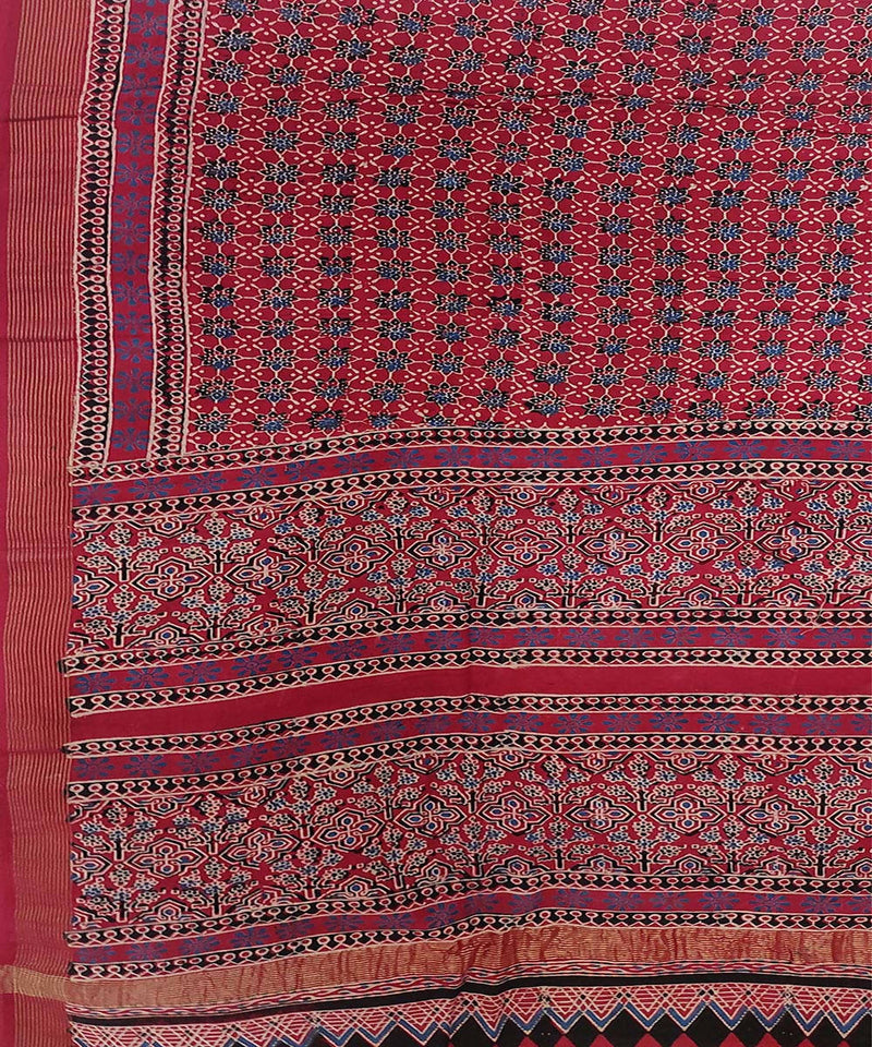 blue and white Ajrakh Handblock on red Handloom Cotton zari Saree