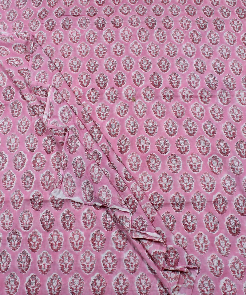 Pale Pink Handblock Print Cotton Fabric
