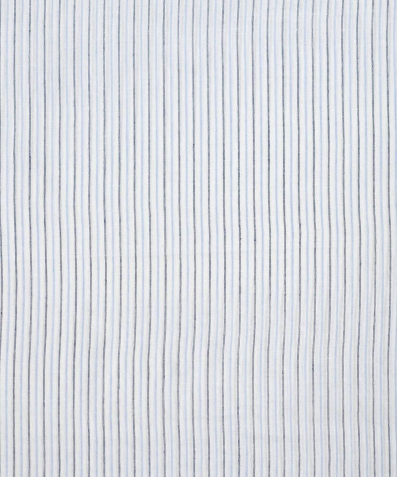 White blue striped handloom cotton fabric
