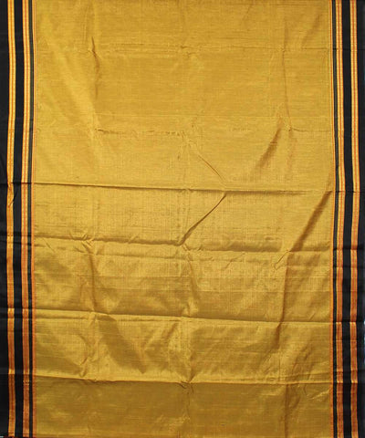 Gold mustard handwoven black gomi dadi border ilkal saree