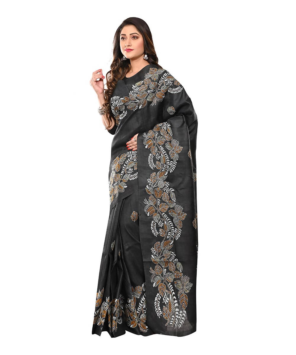 Black Handloom Tussar Kantha Stitch Saree