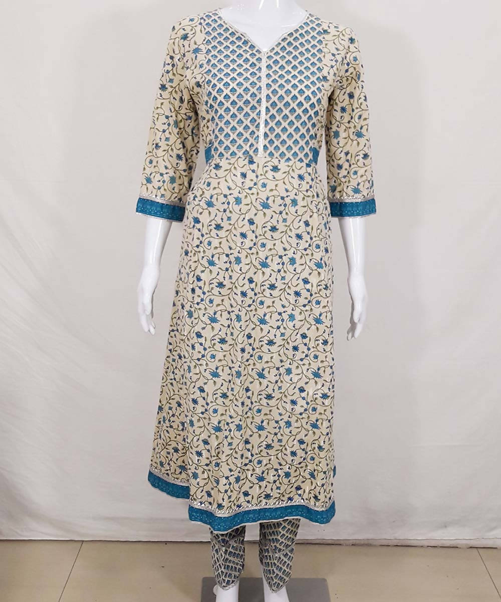 Beige blue hand block print cotton kurti and pant set
