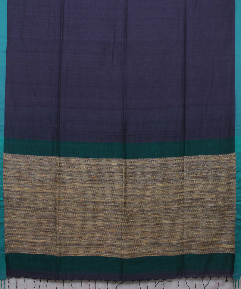 Dark Violet Bengal Handloom Cotton Saree