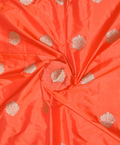 Banarasi Fire Orange Handloom Silk Fabric