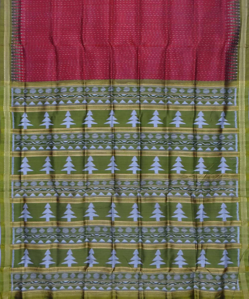 Maroon and Green Handloom Khandua Silk Saree