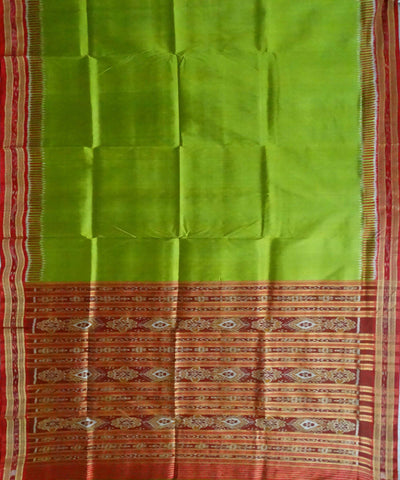 Acid Green Nuapatna Ikat Handloom Silk Saree
