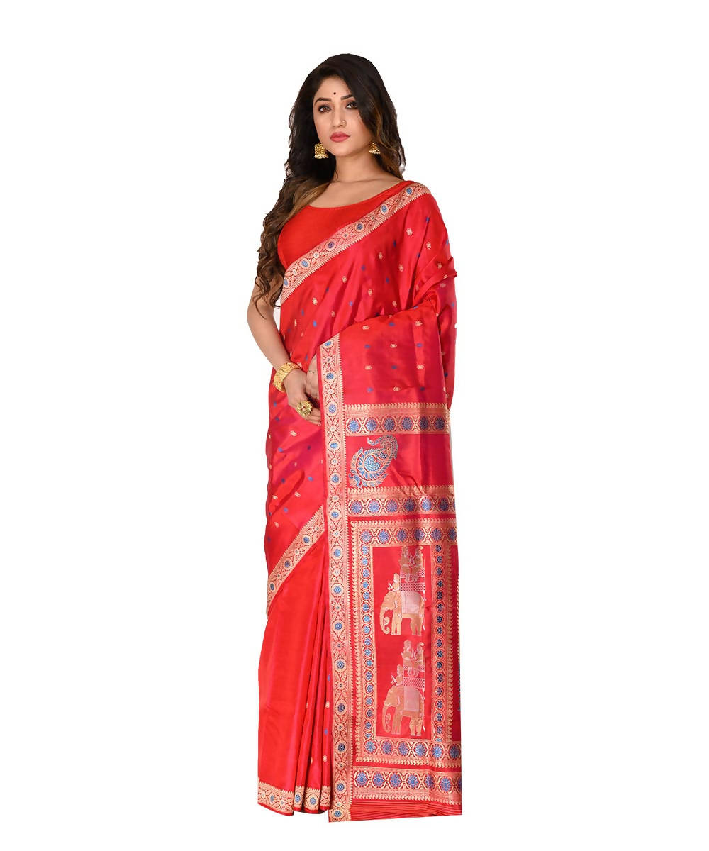Bengal handwoven red baluchari silk saree