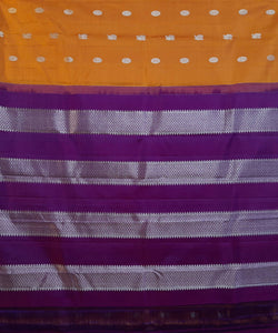 yellow orange handloom molakalmuru butta work silk saree