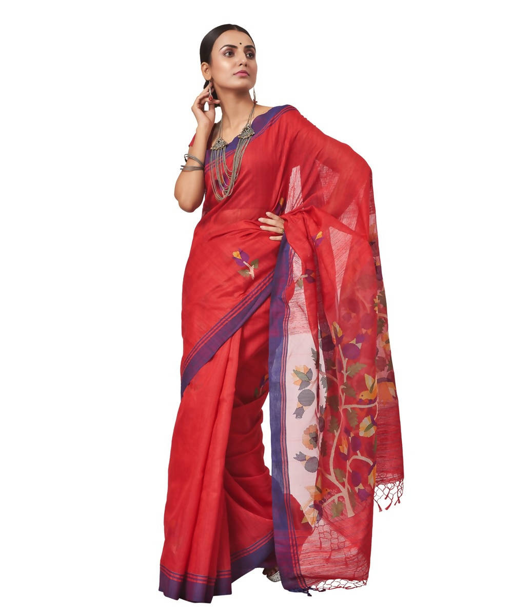 Biswa bangla handloom matka silk red jamdani saree