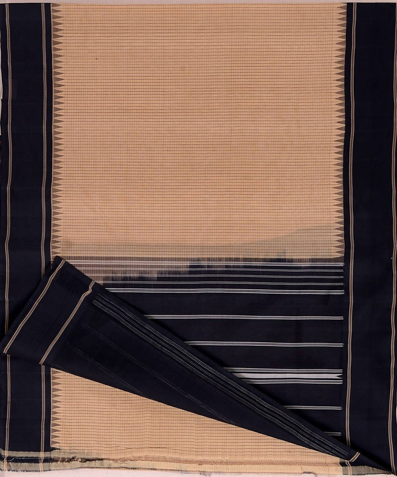 Beige small checks handloom kanchi cotton silk saree black border