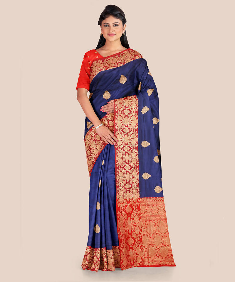 Navy blue red handwoven silk banarasi saree