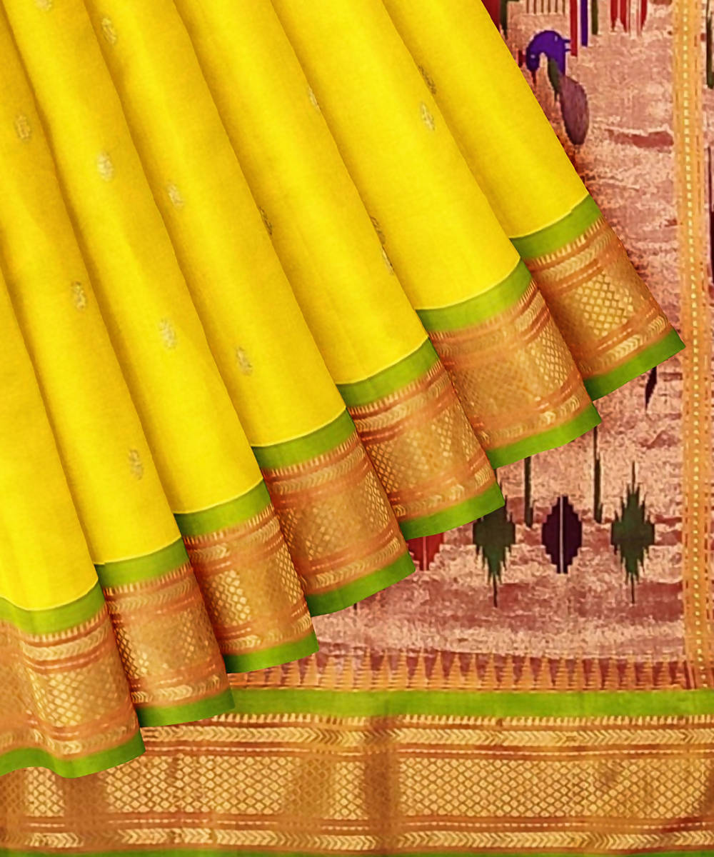 Yellow Handloom Paithani Silk Saree