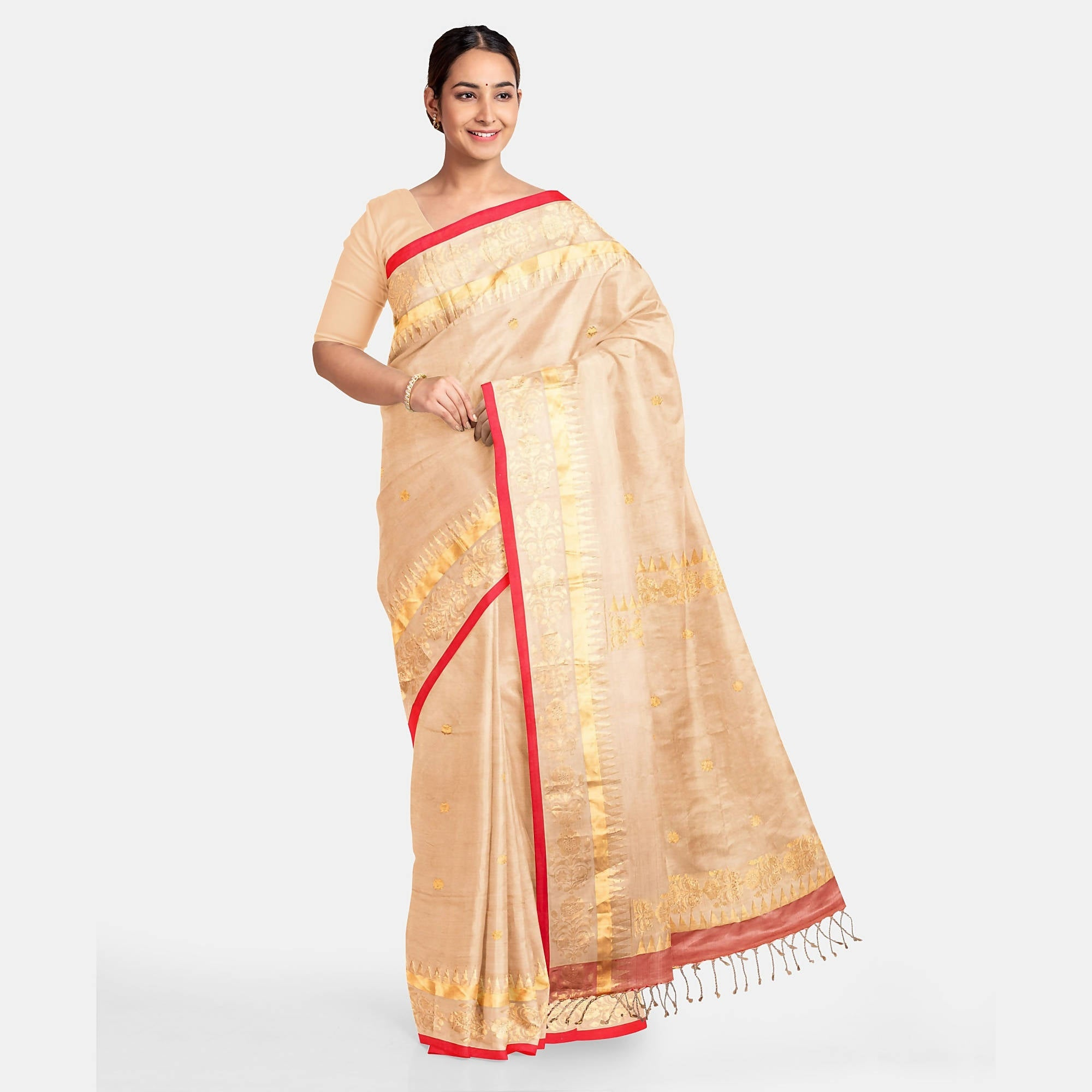 Biswa Bangla Handwoven Silk Saree - Golden Beige