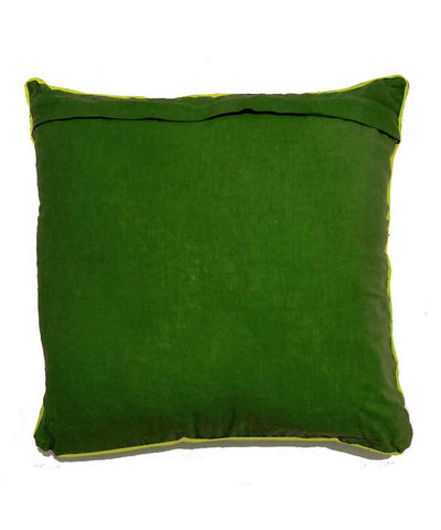 White Hand Embroidery on olive green Cushion Cover