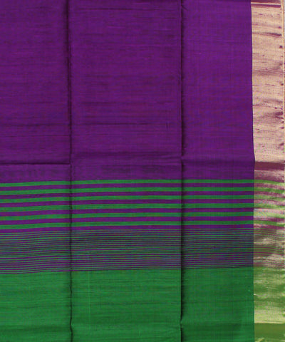 Purple Green Khadi Handloom Silk Saree