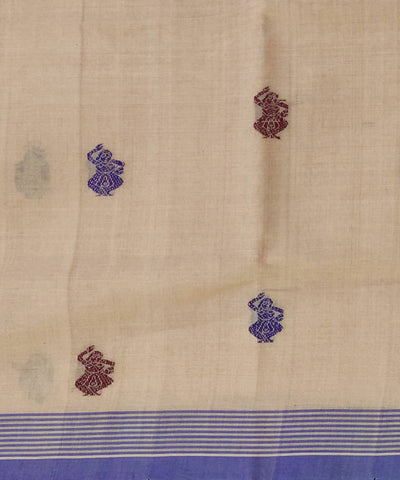 Sand Brown Handwoven Cotton Jacquard Saree
