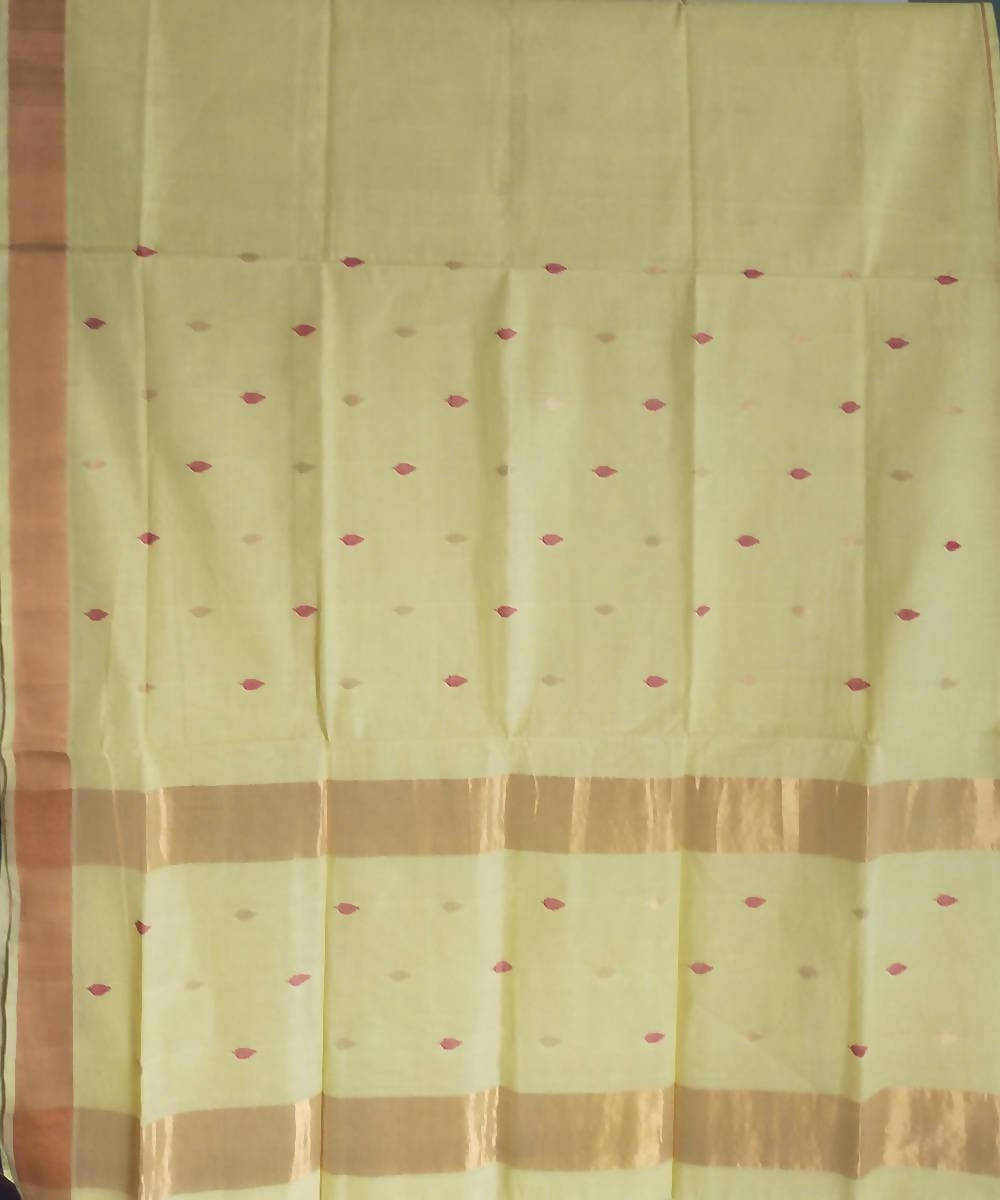 Handwoven Light yellow Green Venkatagiri Cotton Saree
