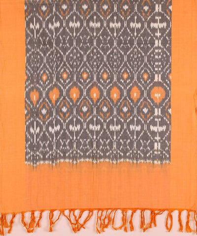 Grey orange handloom Ikat cotton stole