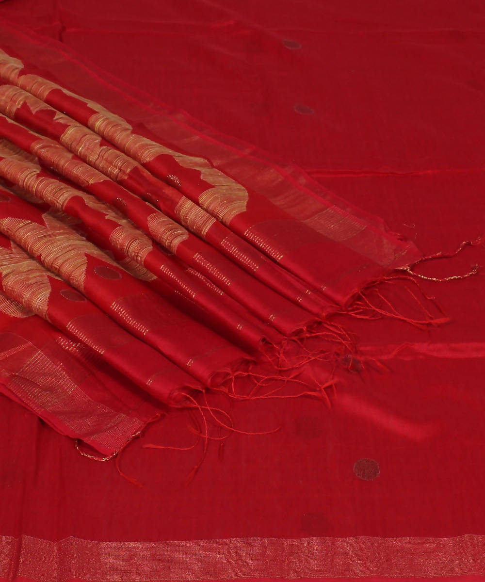 Handloom Red Bengal Cotton Silk Saree