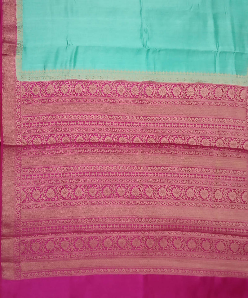 Banarasi Arctic Blue and Pink Handloom Silk Saree