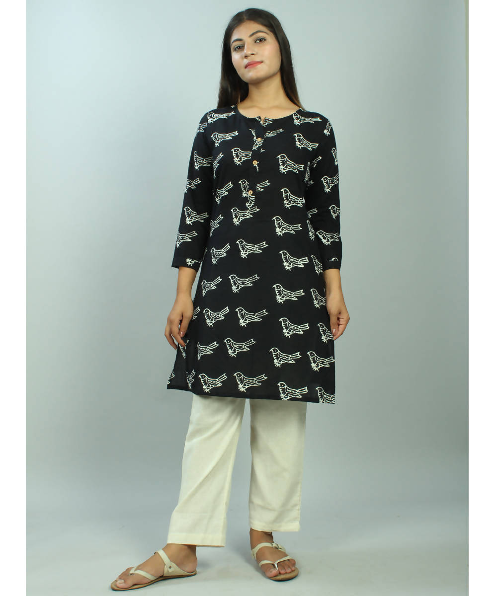 Black and white Chuna patri hand block printed cotton kurti