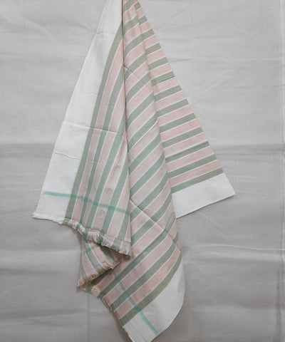 Beige and green stripes handwoven cotton towel