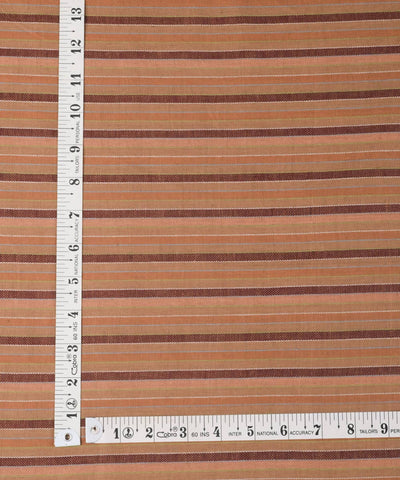 Brown striped handwoven cotton fabric