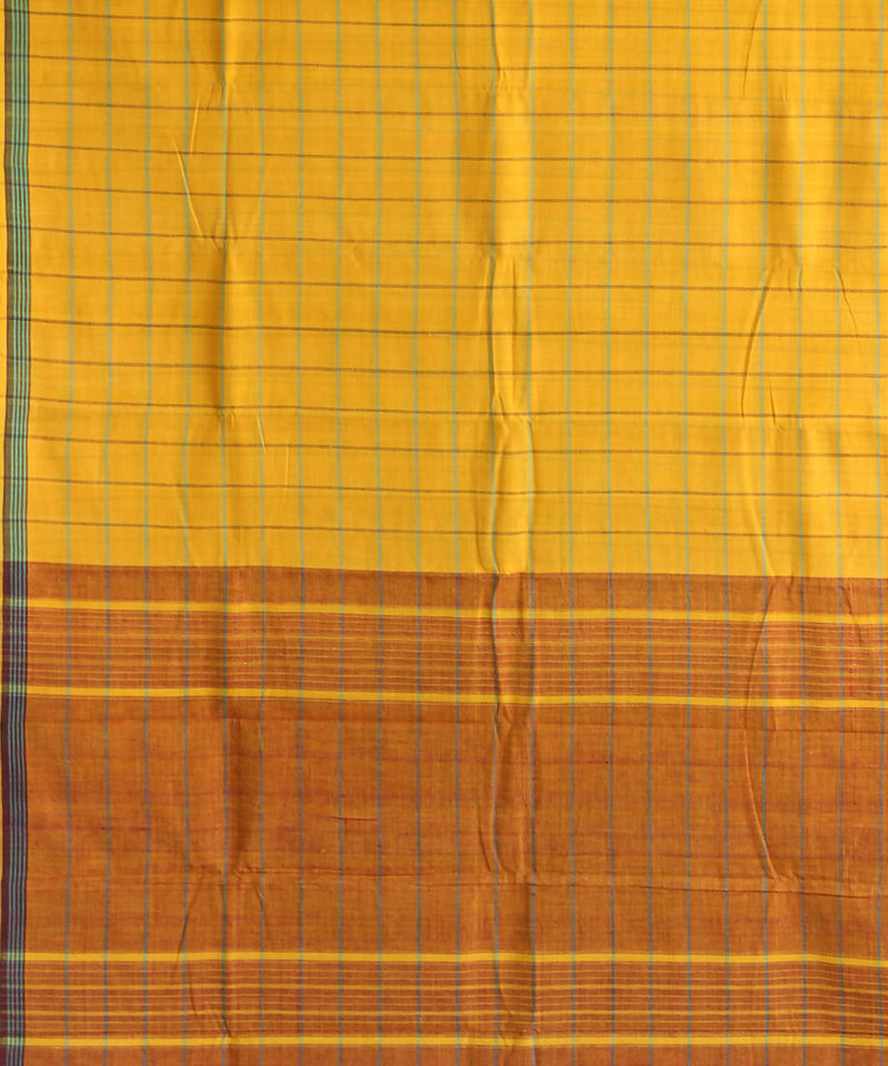 yellow checks natural dye muslin khadi cotton sarees