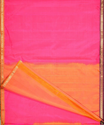 Pink and mustard Handloom kanjivaram zari silk saree