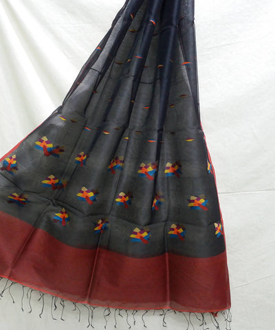 Black and brown handwoven jamdani silk dupatta