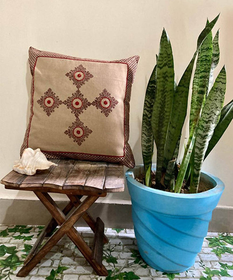 Beige handblock print with hand embroidery cushion cover